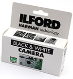 Ilford disposable black and white analog cameras
